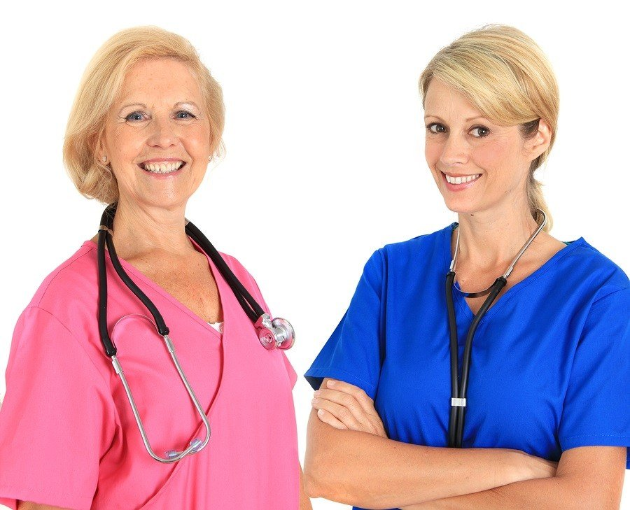 A nursing CNA student and an RN