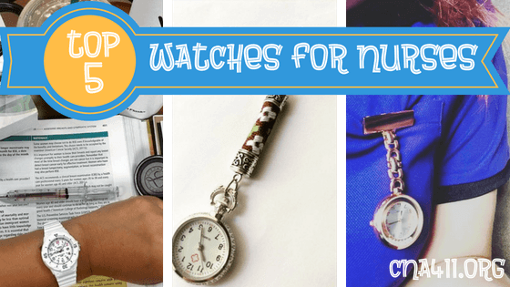 Pre-nursing graduate watches and nurse in scrubs wearing watch on uniform